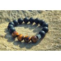 Bracelet Perles Œil du tigre et Noir mat