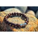 Bracelet Perles Bois et Chrome