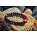 Bracelet Perles Bois et Rouge